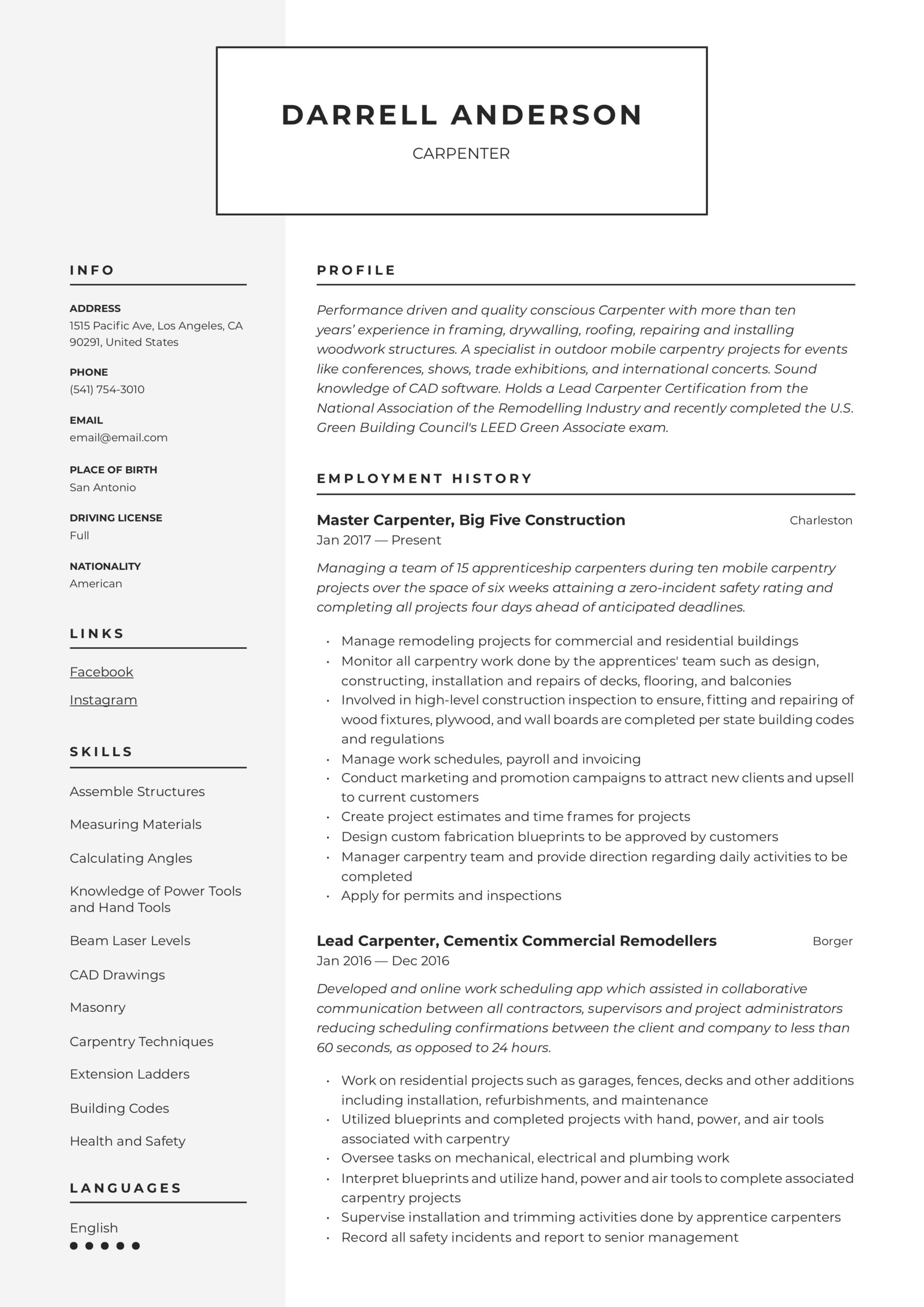 carpenter resume writing guide examples job description for cna qualifications designer Resume Carpenter Job Description For Resume