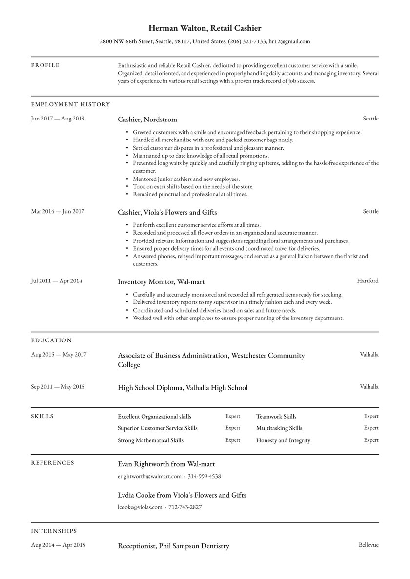 cashier resume examples writing tips free guide io supermarket customer service retired Resume Supermarket Customer Service Resume