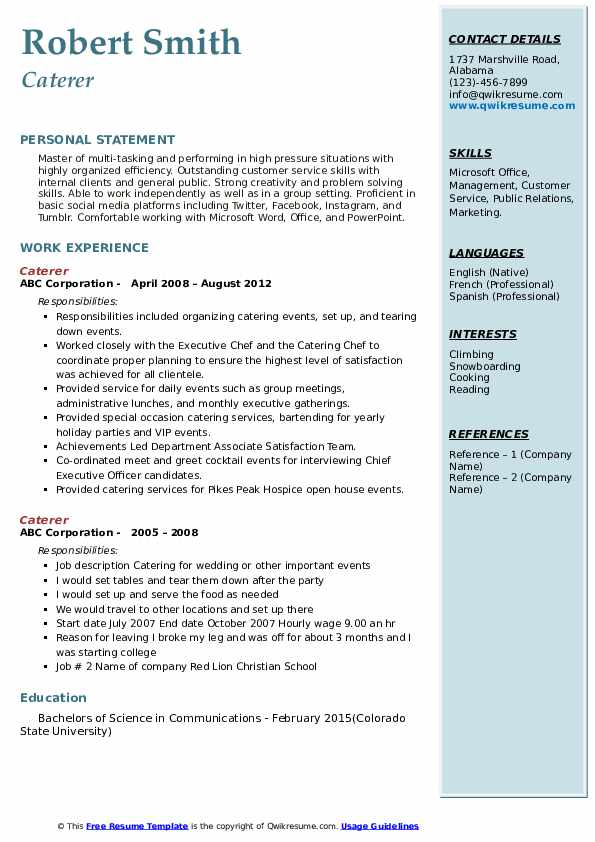 caterer resume samples qwikresume example of catering pdf waitress athletic trainer Resume Example Of Catering Resume