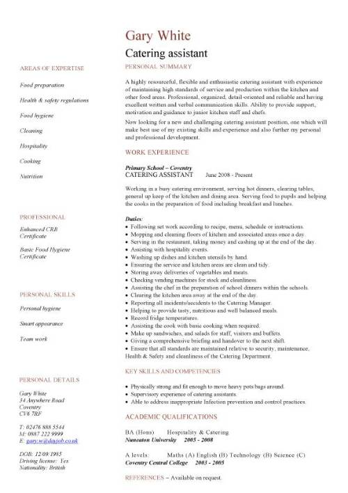 catering assistant cv sample kitchen environment hospitality cvs example of resume pic Resume Example Of Catering Resume