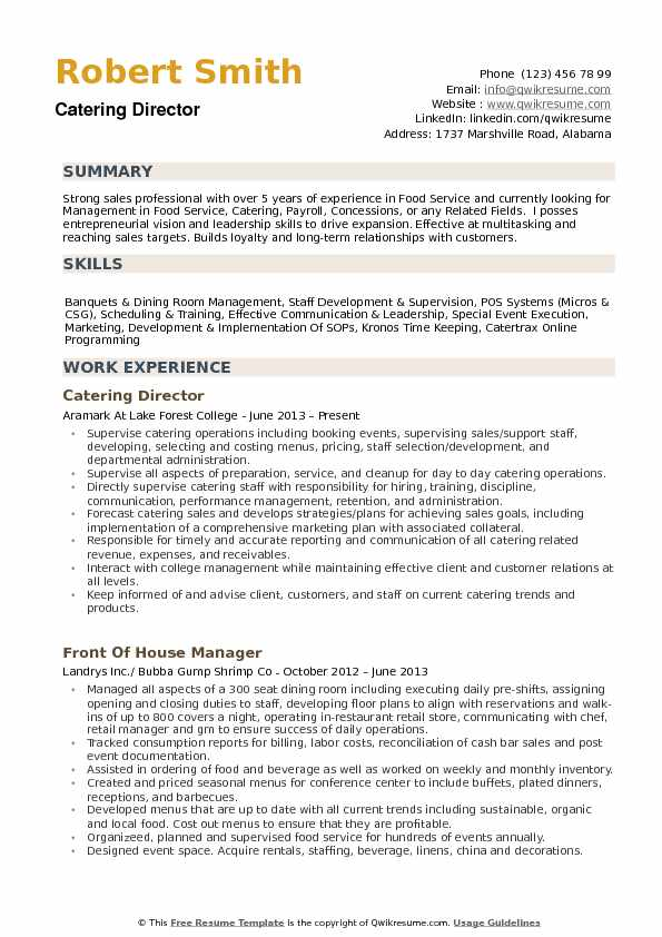 catering director resume samples qwikresume example of pdf simple for first time job Resume Example Of Catering Resume