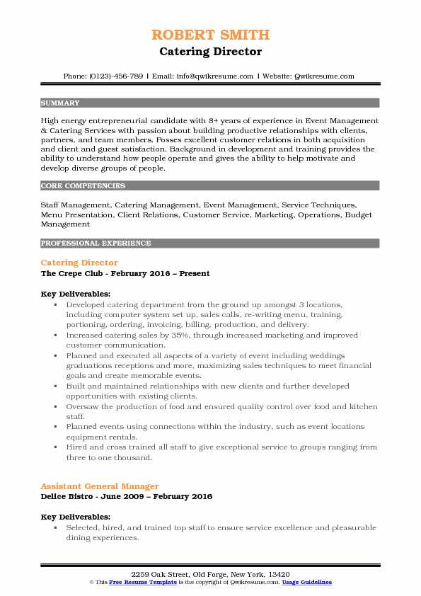 catering director resume samples qwikresume example of pdf strength checker powerpoint Resume Example Of Catering Resume