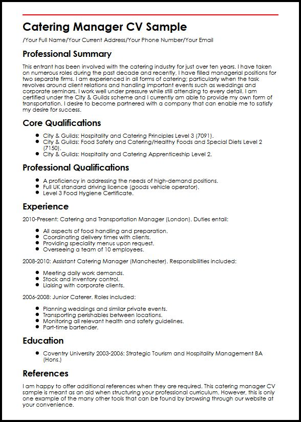 catering manager cv example myperfectcv of resume sample marketing program strength Resume Example Of Catering Resume