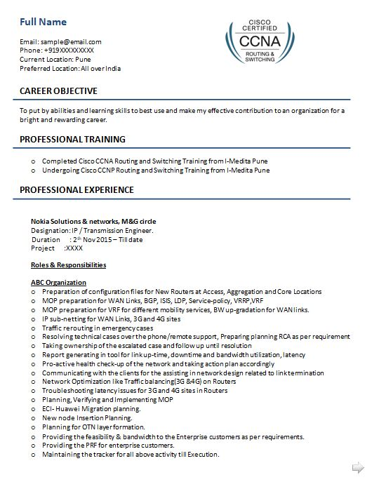 ccna resume samples top templates in for network engineer with fresher sample postpartum Resume Resume For Network Engineer With Ccna Fresher