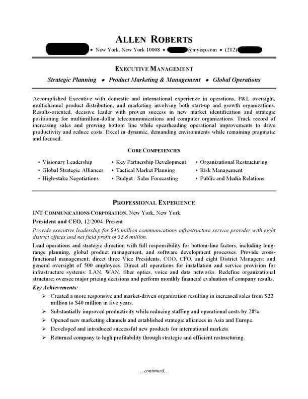 ceo executive resume sample professional examples topresume template page1 server Resume Executive Professional Resume Template