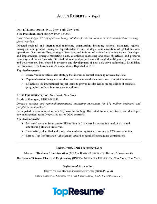 ceo executive resume sample professional examples topresume template page2 data center Resume Executive Professional Resume Template