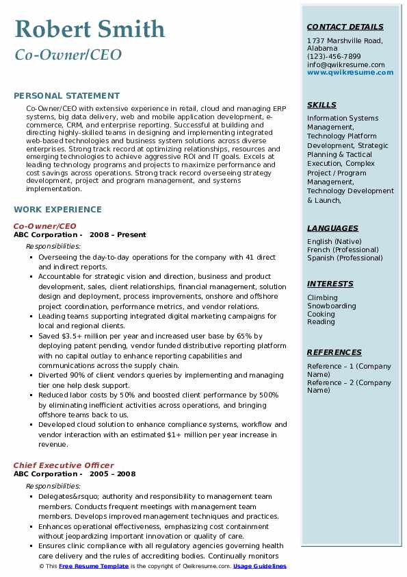 ceo resume samples qwikresume of google pdf unc career services intrests for assistant Resume Resume Of Ceo Of Google