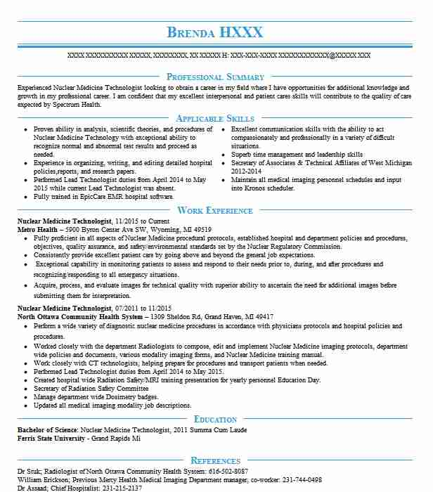 certified nuclear medicine technologist resume example and memorial hospital yonkers new Resume Nuclear Medicine Technologist Resume