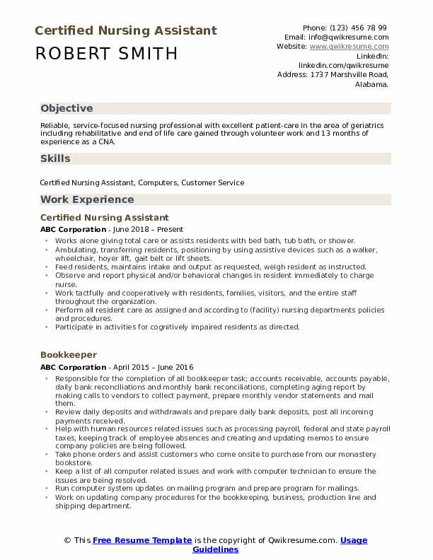 certified nursing assistant resume samples qwikresume pdf zety free trial content curator Resume Certified Nursing Assistant Resume