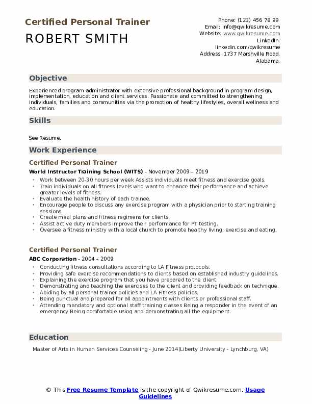 certified personal trainer resume samples qwikresume for gym job pdf bachelor of business Resume Resume For Gym Trainer Job