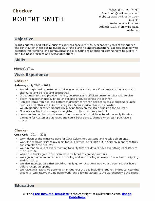 checker resume samples qwikresume heb cashier job description for pdf professional Resume Heb Cashier Job Description For Resume