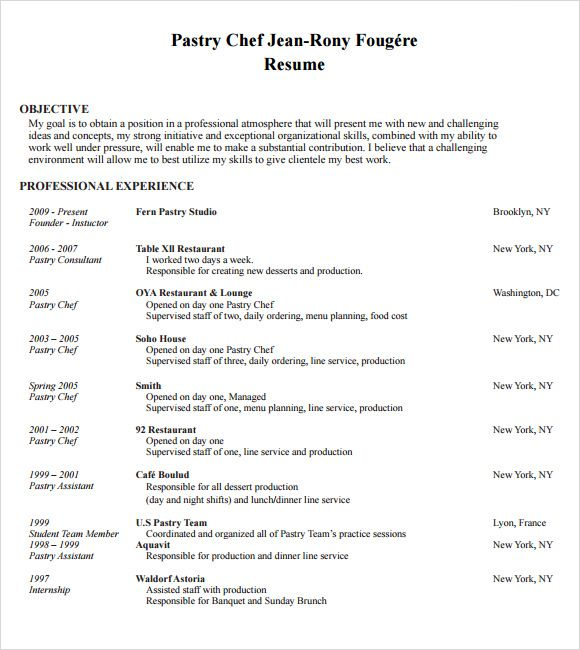 chef resume templates documents pdf word pastry example sainde sample downloadable Resume Personal Chef Resume Objective