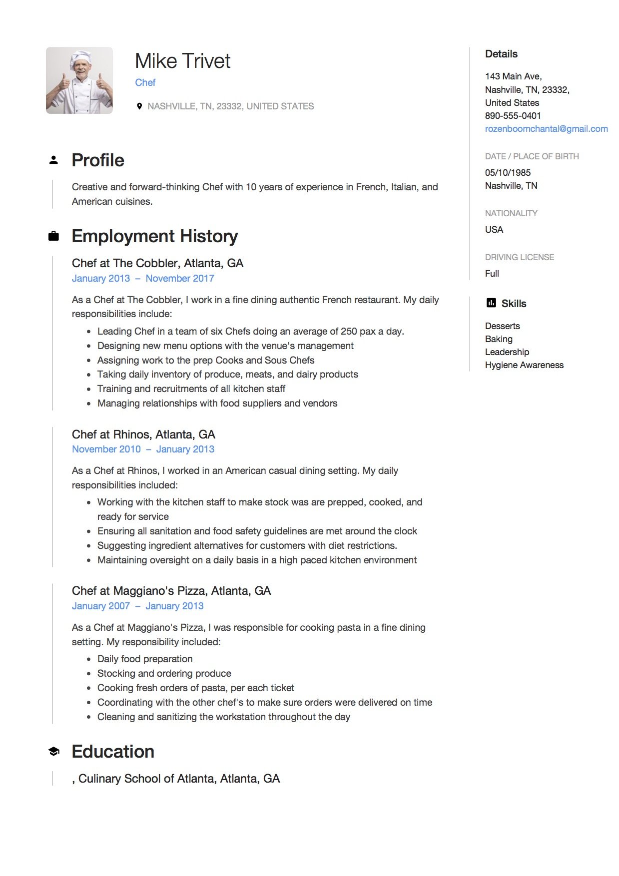 chef resume writing guide free templates pdf responsibilities for mike trivet role of Resume Cook Responsibilities For Resume