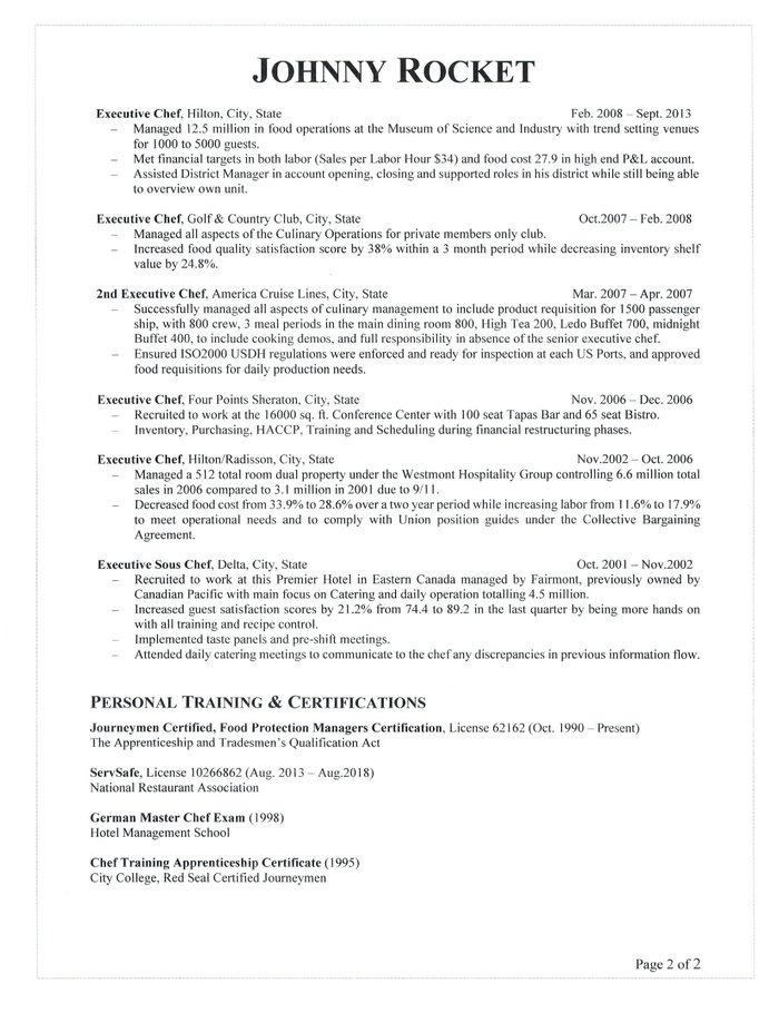 chefs resume december personal chef objective executive star statements perfect sample Resume Personal Chef Resume Objective