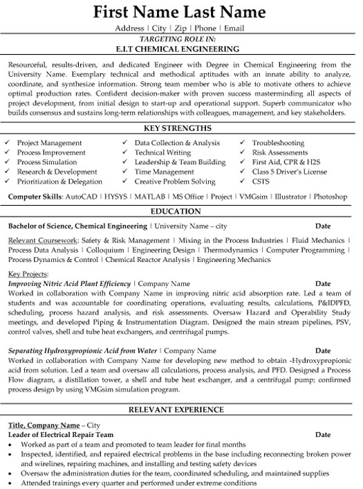chemical engineer resume sample template engineering eit primary teaching examples initio Resume Chemical Engineering Resume