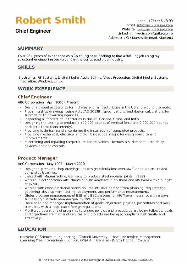 chief engineer resume samples qwikresume marine template pdf ecommerce operations manager Resume Marine Engineer Resume Template