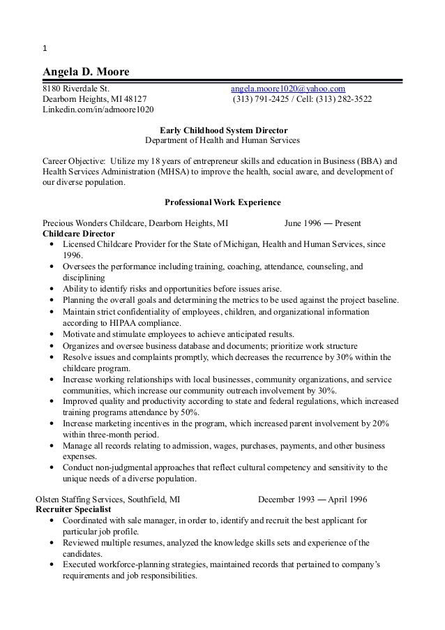 childhood director resume education objective business student template summary or airbnb Resume Early Childhood Education Resume Objective
