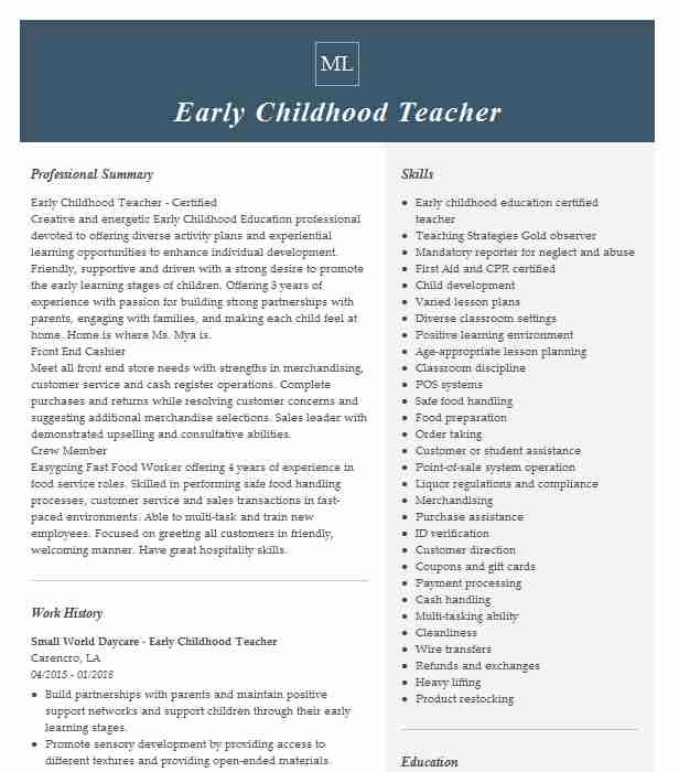 childhood teacher resume example resumes misc livecareer gym instructor warehouse lead Resume Early Childhood Teacher Resume