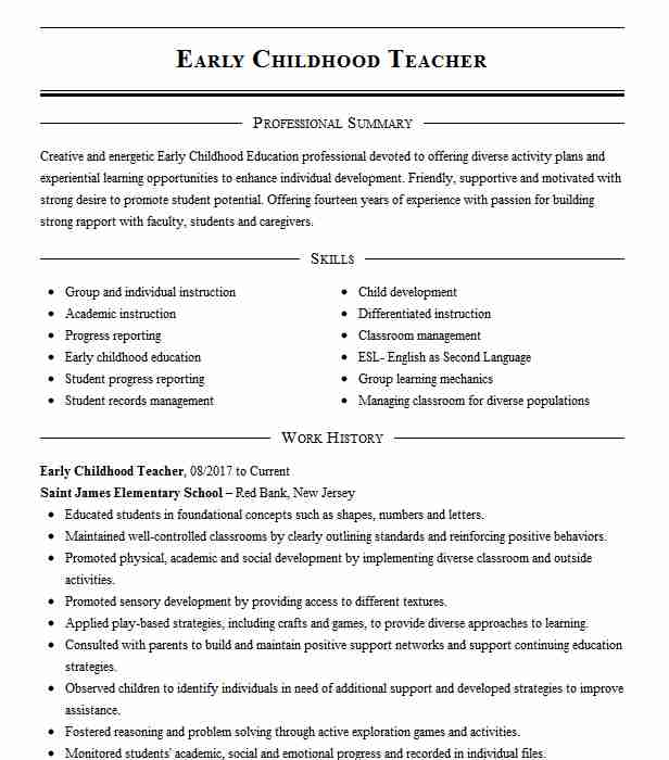 childhood teacher resume example resumes misc livecareer motion graphics quality Resume Early Childhood Teacher Resume