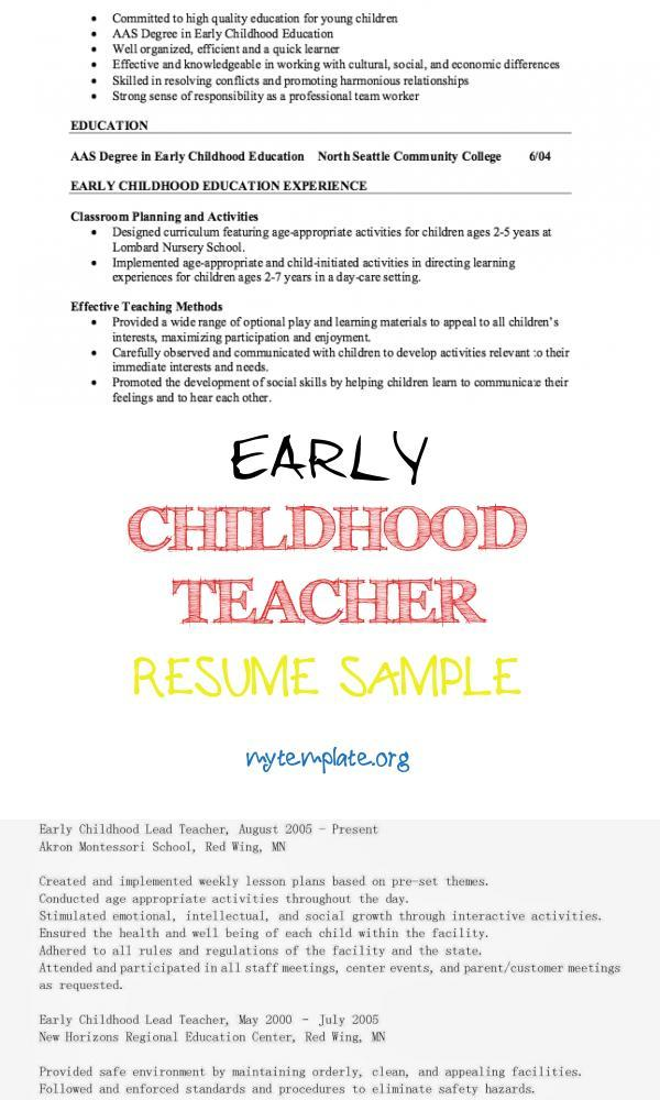 childhood teacher resume sample free templates of pin examples for year olds quality Resume Early Childhood Teacher Resume
