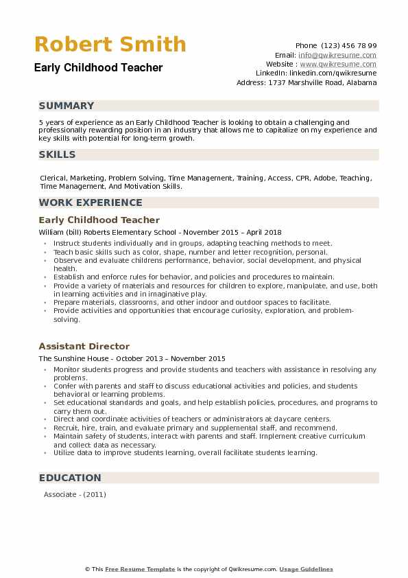 childhood teacher resume samples qwikresume education objective pdf catering manager and Resume Early Childhood Education Resume Objective