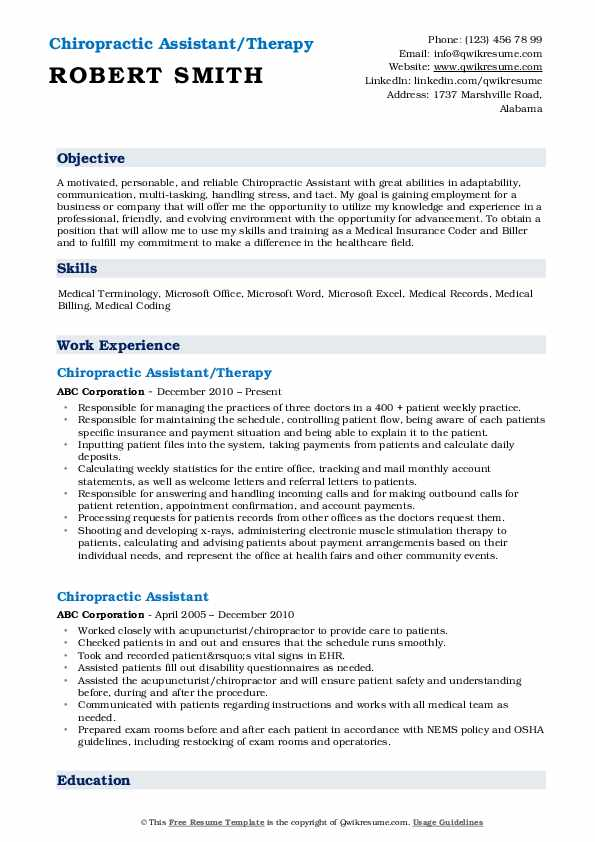 chiropractic assistant resume samples qwikresume examples pdf travel nurse objective film Resume Chiropractic Resume Examples