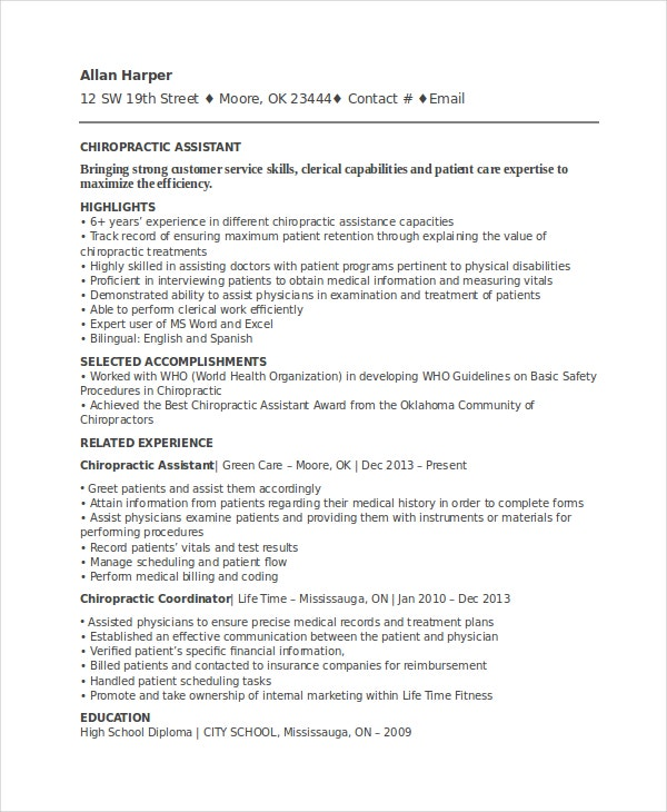 chiropractic resume template free word documents premium templates examples assistant Resume Chiropractic Resume Examples