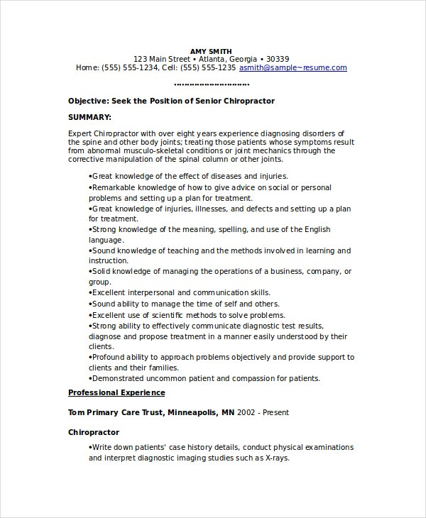 chiropractic resume template free word documents premium templates examples sample glory Resume Chiropractic Resume Examples