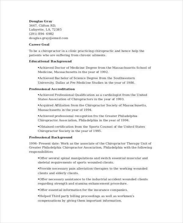 chiropractic resume template free word documents premium templates examples student Resume Chiropractic Resume Examples