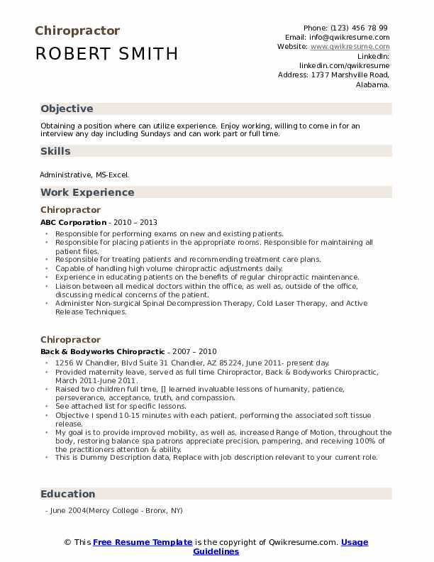 chiropractor resume samples qwikresume chiropractic examples pdf consulting template Resume Chiropractic Resume Examples