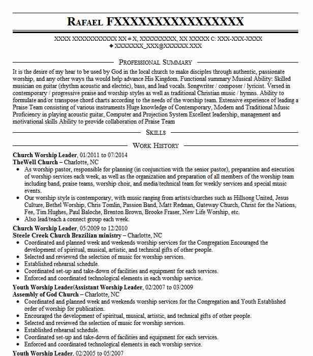 church worship leader resume example resumes livecareer pastor templates optimize your Resume Worship Pastor Resume Templates