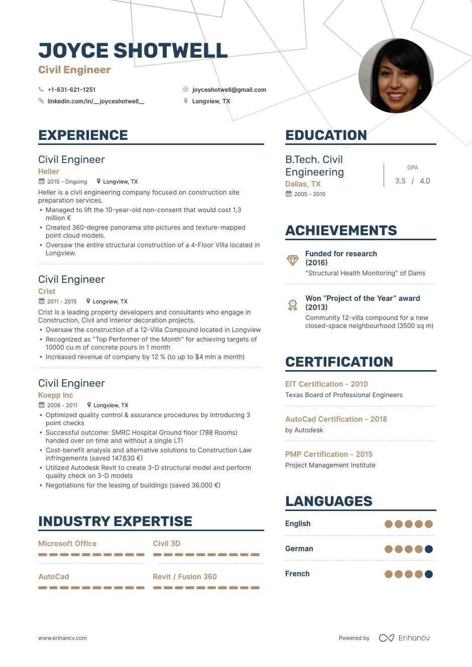 civil engineer resume examples guide pro tips enhancv format for engineering students Resume Resume Format For Civil Engineering Students