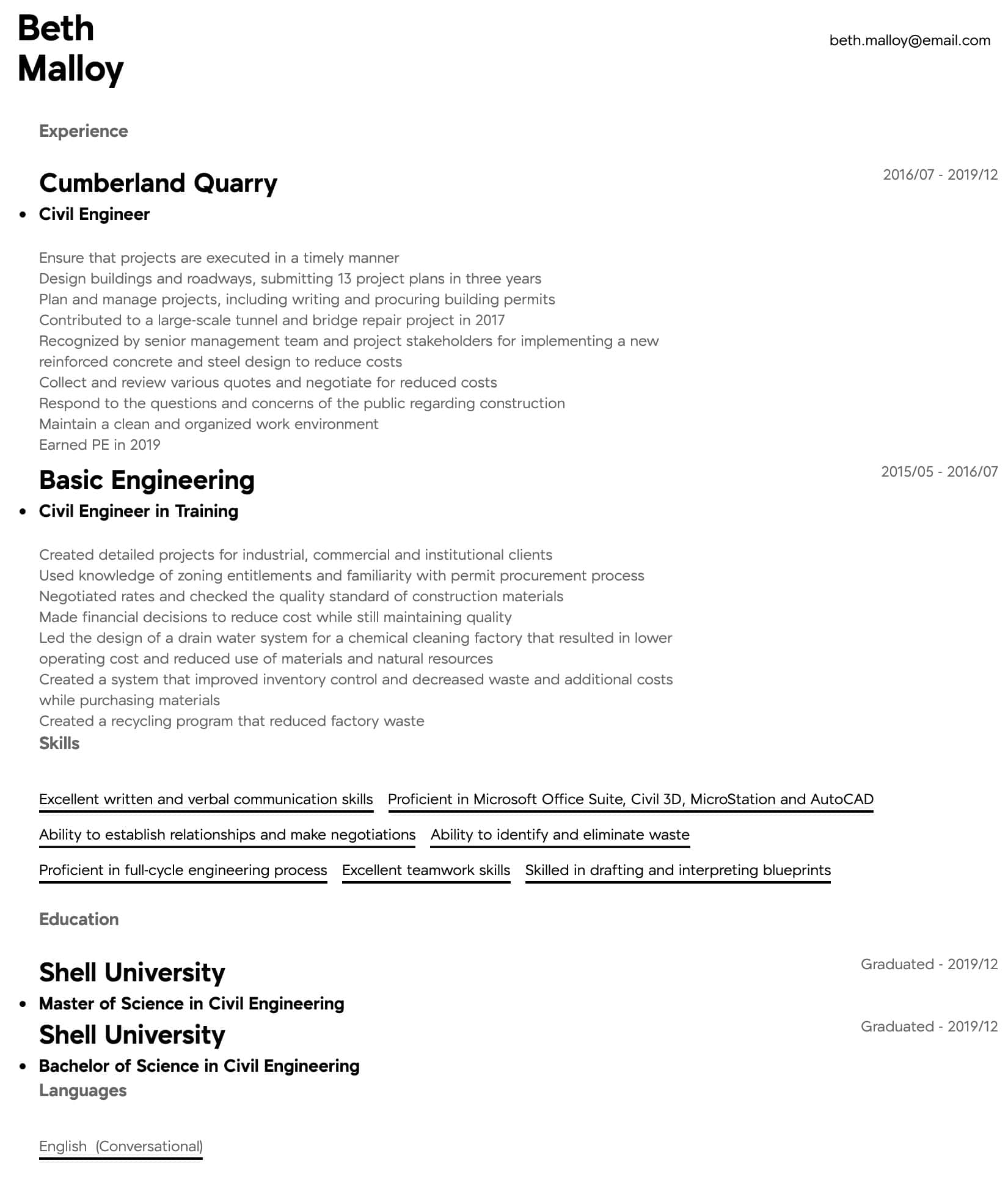 civil engineer resume samples all experience levels format for engineering students Resume Resume Format For Civil Engineering Students