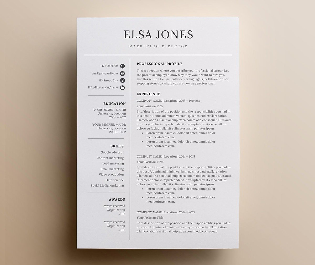 clean minimalist resume templates sleek design word template ender print email body for Resume Minimalist Word Resume Template