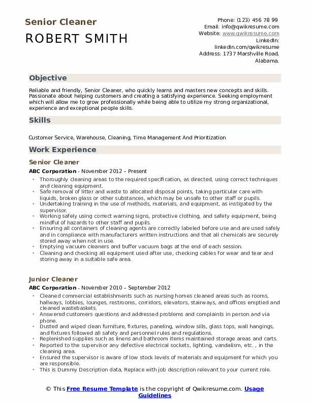 cleaner resume samples qwikresume cleaning pdf mistakes examples hospitality waitress Resume Cleaning Resume Download