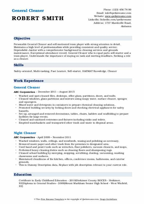cleaner resume samples qwikresume for cleaning position pdf oracle sample years Resume Resume For Cleaning Position