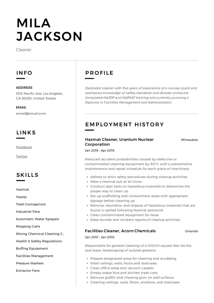 cleaner resume writing guide templates pdf cleaning mila oshawa junit need done Resume Cleaning Resume Download