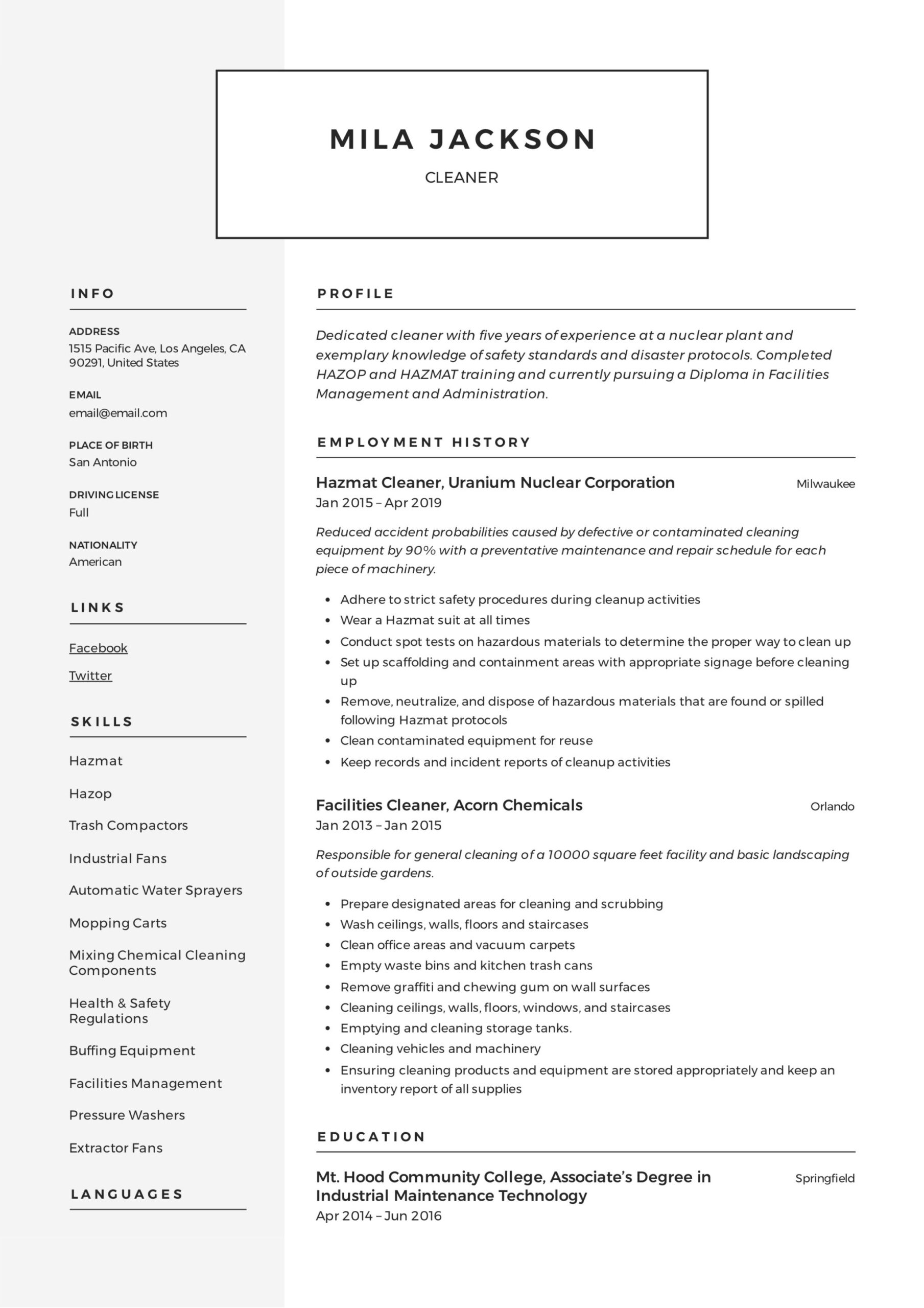 cleaner resume writing guide templates pdf for cleaning position mila high school student Resume Resume For Cleaning Position