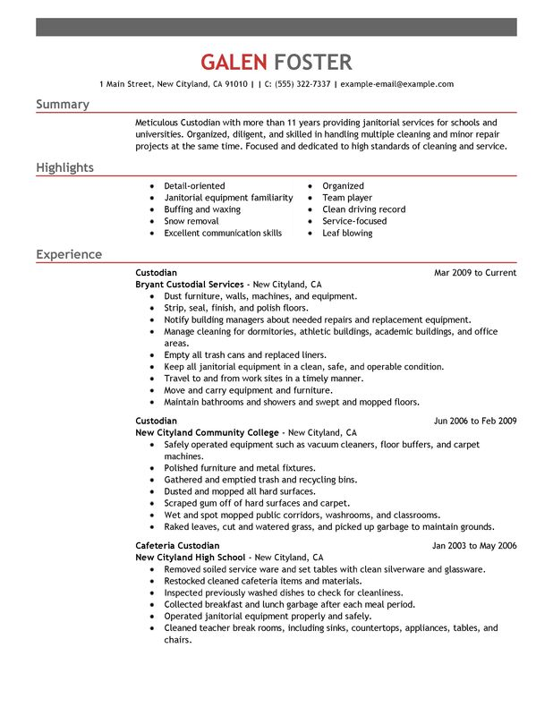 cleaning professionals resume examples created by pros myperfectresume professional Resume Professional Custodian Resume Sample