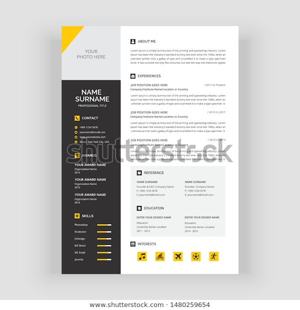 clear modern professional yellow cv resume stock vector royalty free background color Resume Resume Picture Background Color