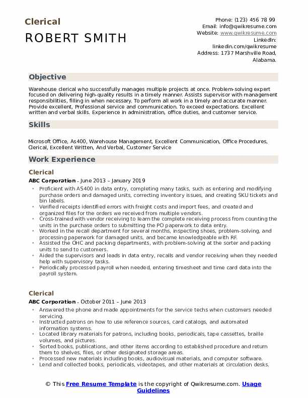 clerical resume samples qwikresume pdf current examples contractor library unsubscribe Resume Clerical Resume Samples