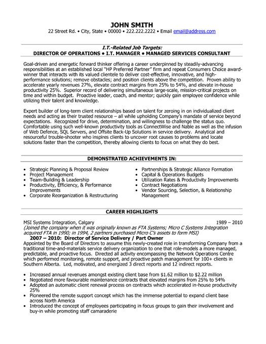 click here to this director of service delivery resume template http resumetemplates Resume Delivery Director Resume