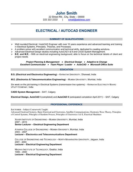 click here to this electrical engineer resume template http resu professional samples Resume Electrical Engineer Resume Sample