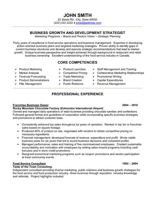 click here to this franchise business owner resume template http resumet executive Resume Business Resume Template
