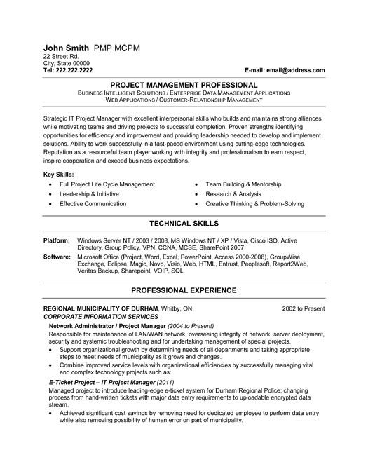 click here to this it project manager resume template http resumetemplates10 professional Resume Project Management Professional Resume Sample