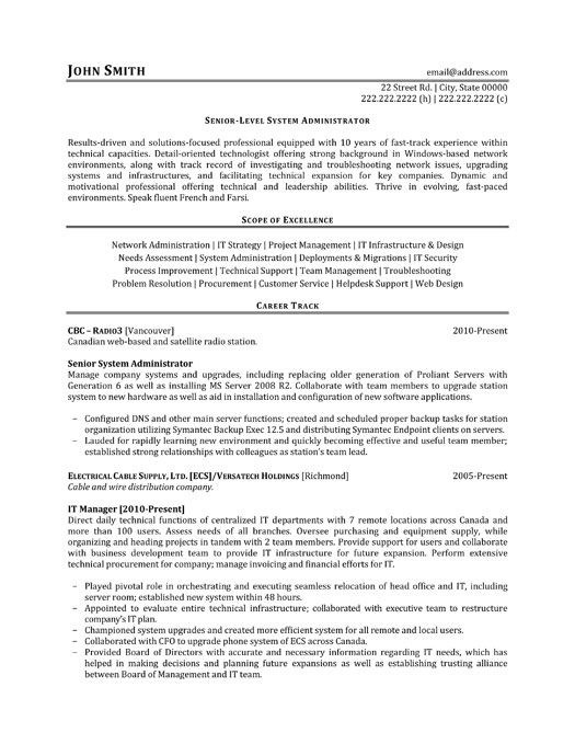 click here to this senior level system administrator resume template http res engineering Resume System Administrator Resume Sample Download