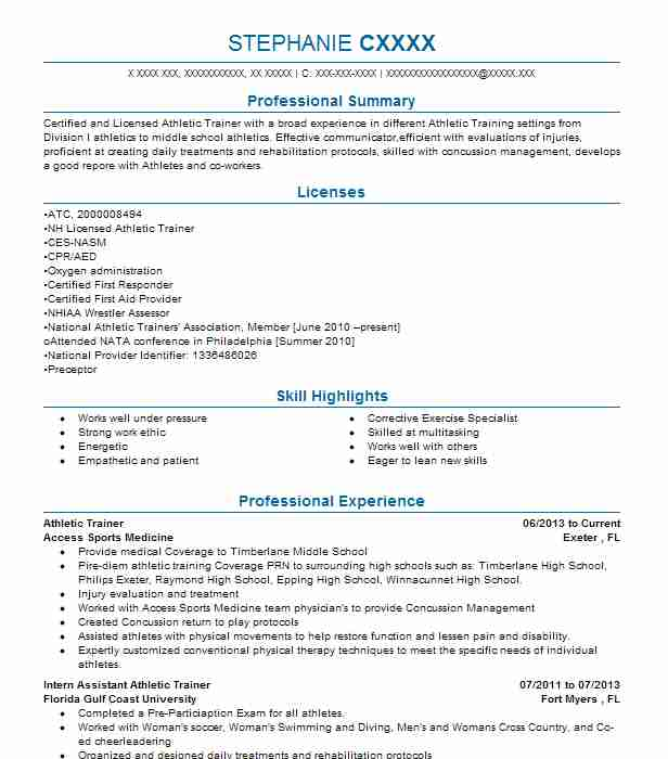 clinical athletic trainer for tria sports resume example orthopedic center eden sample Resume Athletic Trainer Resume Sample