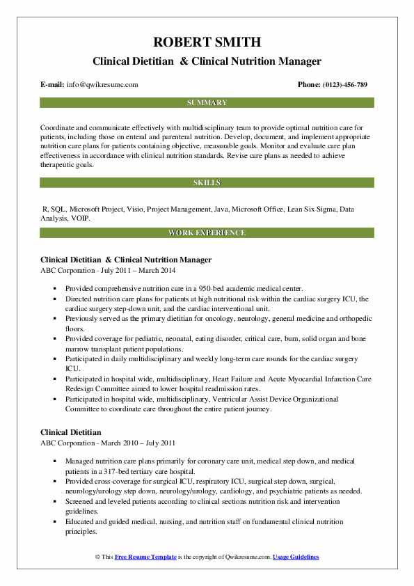 clinical dietitian resume samples qwikresume cover letter pdf senior financial analyst Resume Clinical Dietitian Resume Cover Letter