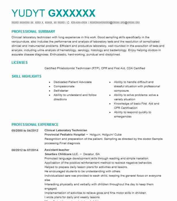clinical laboratory technician resume example livecareer protocol testing hobbies that Resume Laboratory Technician Resume