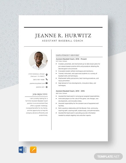 coach resume template free word pdf document downloads premium templates assistant sample Resume Assistant Coach Resume Sample